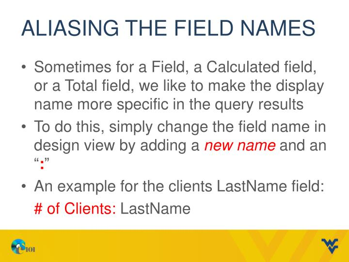 Aliasing the Field Names