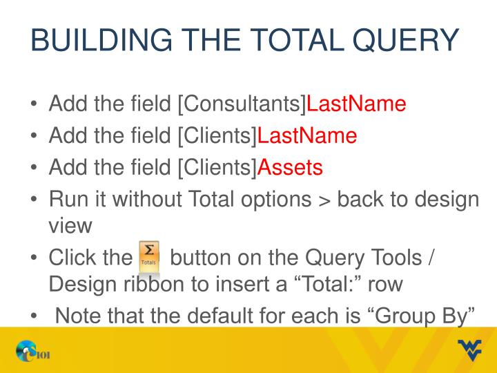 Building the Total Query