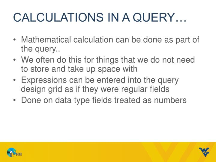 Calculations in a Query…