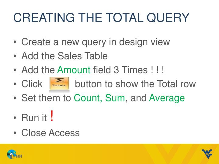 Creating the Total Query