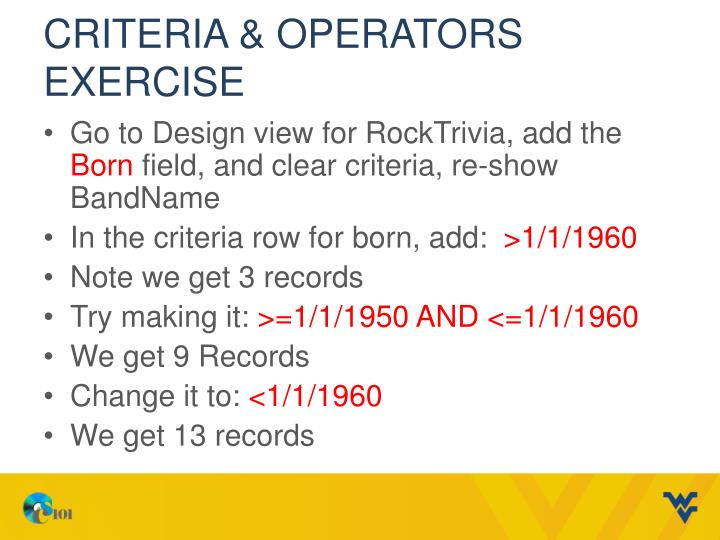 Criteria & Operators Exercise