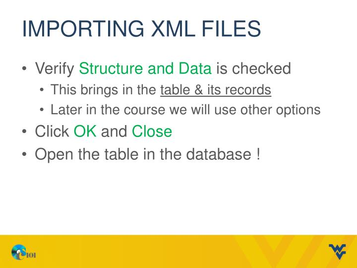 Importing XML FILES