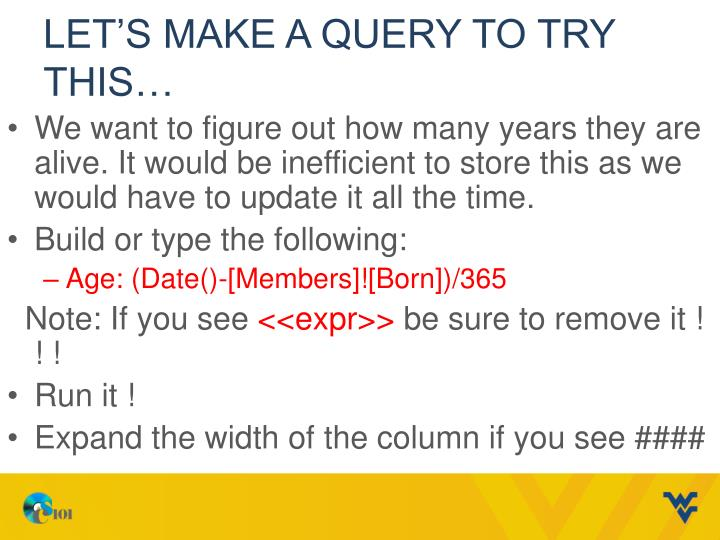 Let's make a Query to try this…