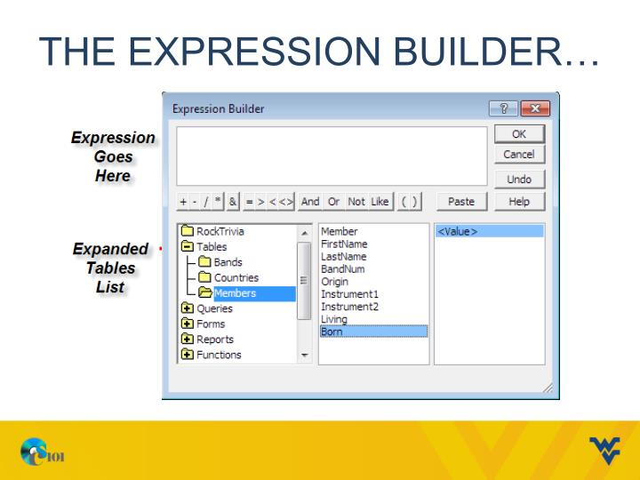 The Expression Builder…