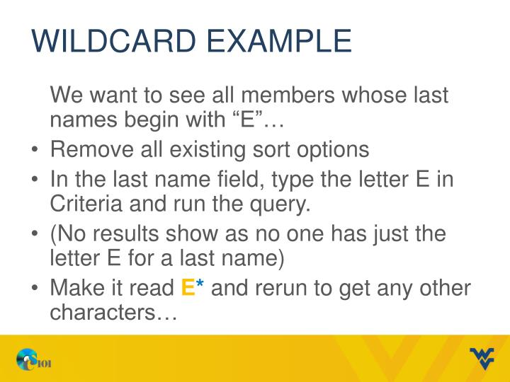 Wildcard Example