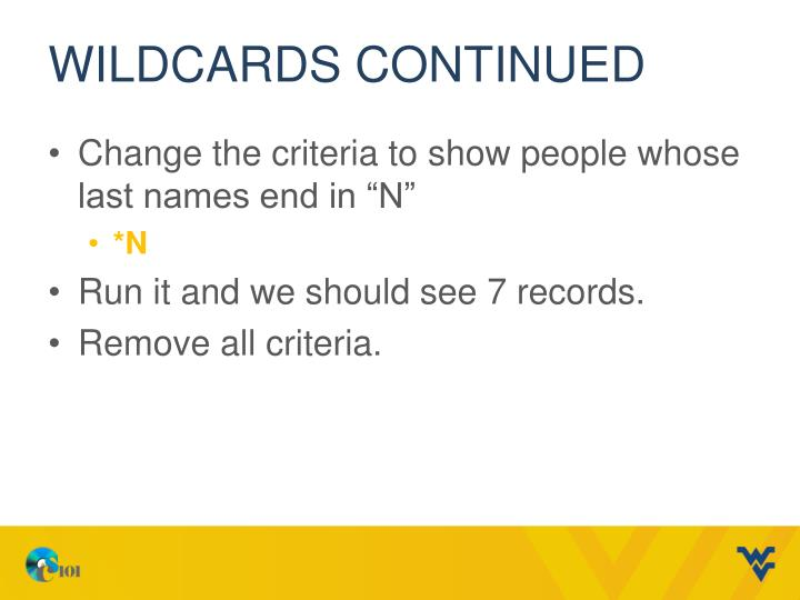 Wildcards continued