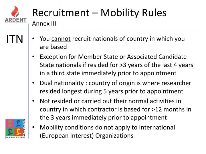 Recruitment – Mobility Rules