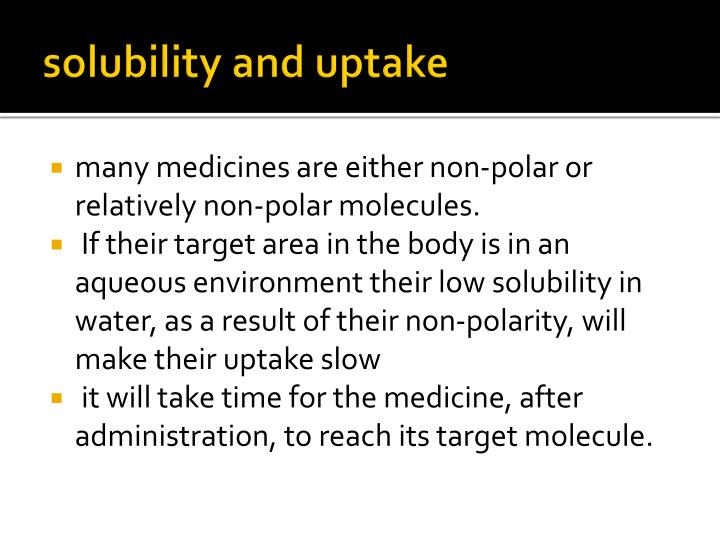 solubility and uptake