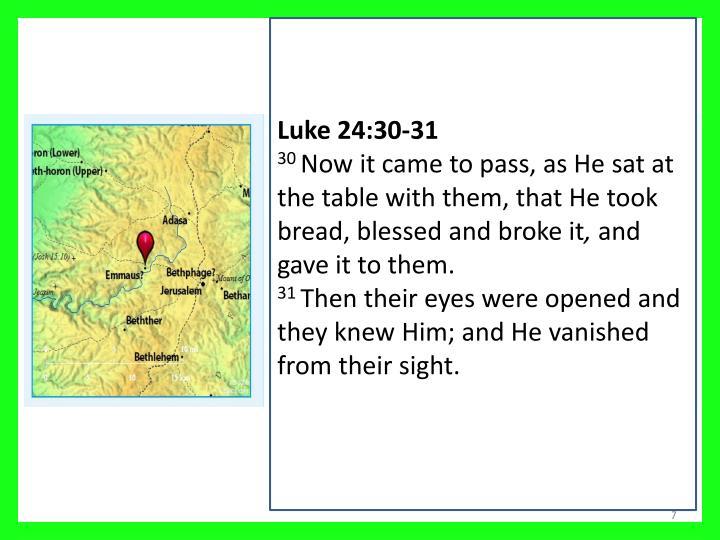 Luke 24:30-31