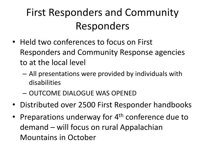 First Responders and Community Responders