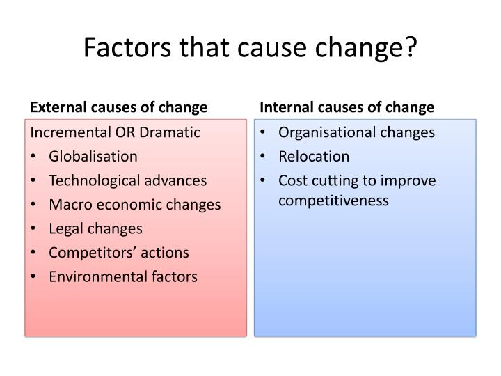 Factors that cause change?