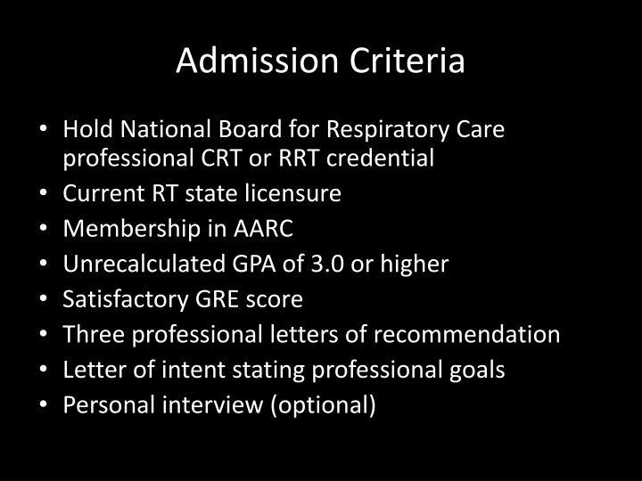 Admission Criteria