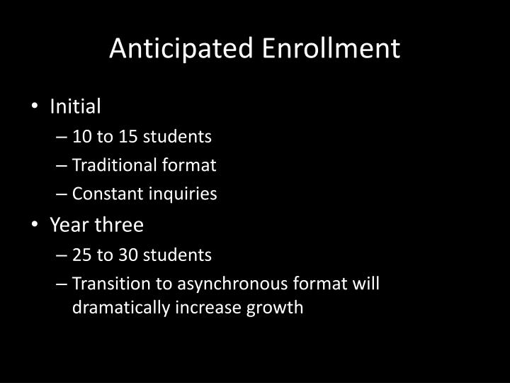 Anticipated Enrollment