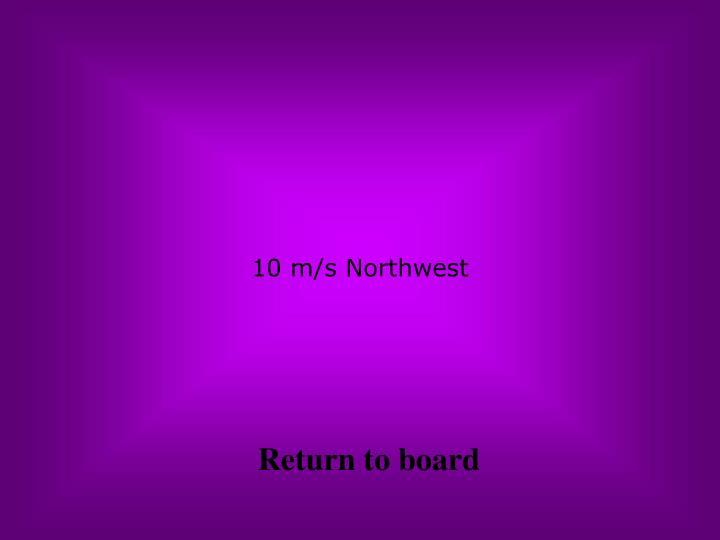 10 m/s Northwest