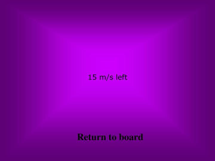 15 m/s left