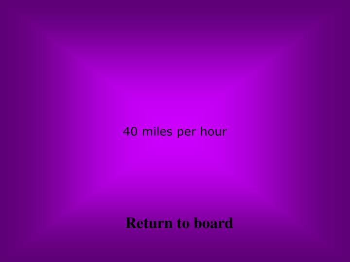 40 miles per hour