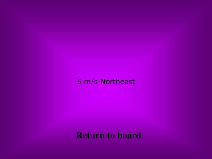 5 m/s Northeast