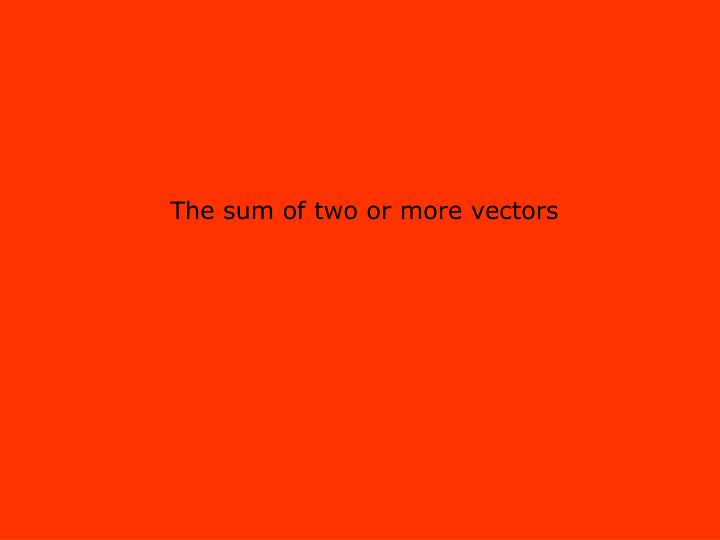 The sum of two or more vectors