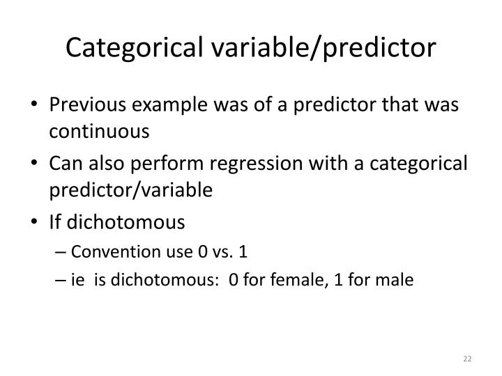 Categorical variable/predictor