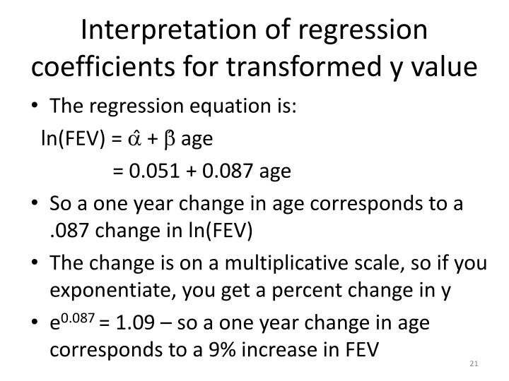 Interpretation of regression coefficients for transformed y value