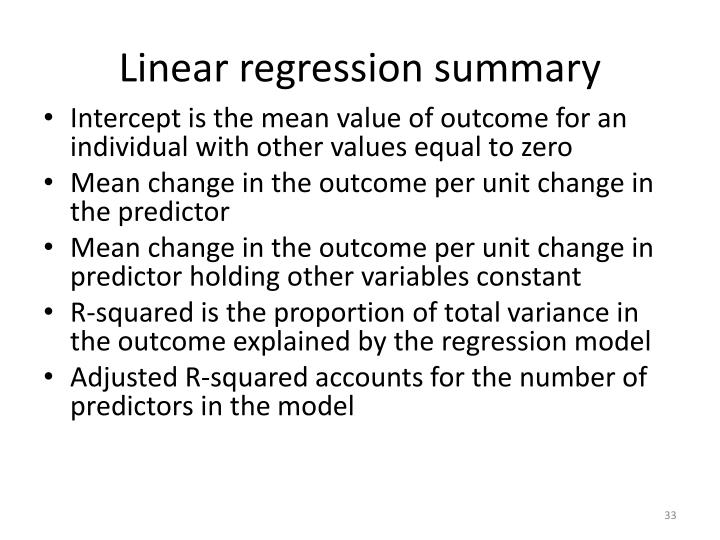 Linear regression summary