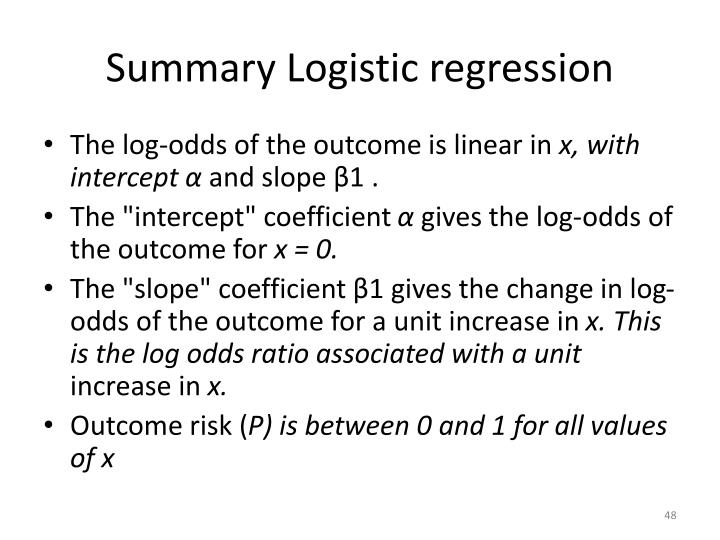 Summary Logistic regression