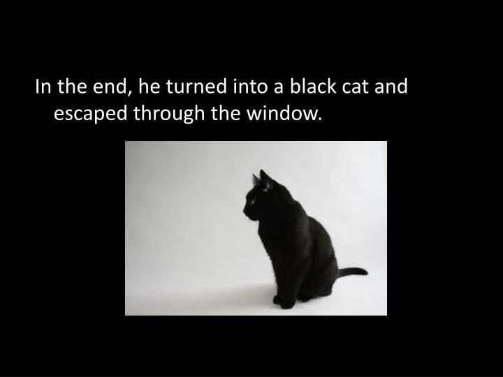 In the end, he turned into ablack cat and escaped through the window.
