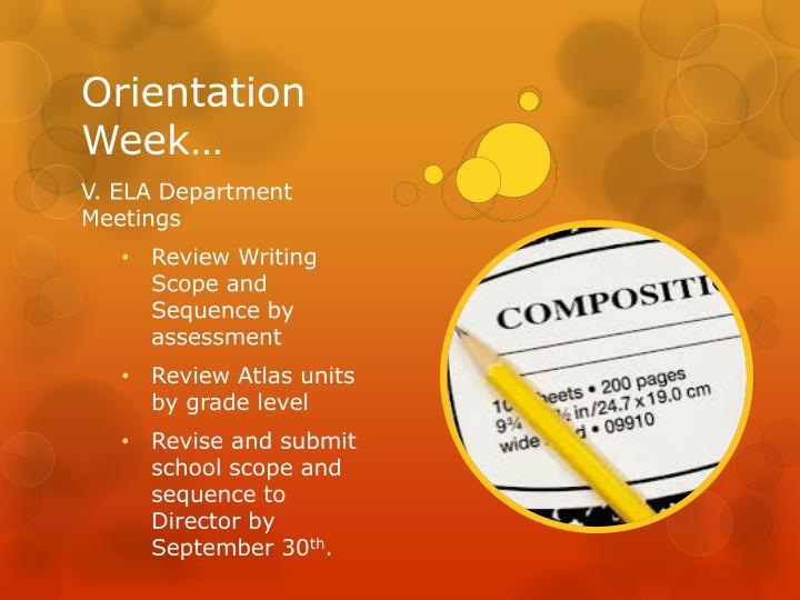 Orientation Week…