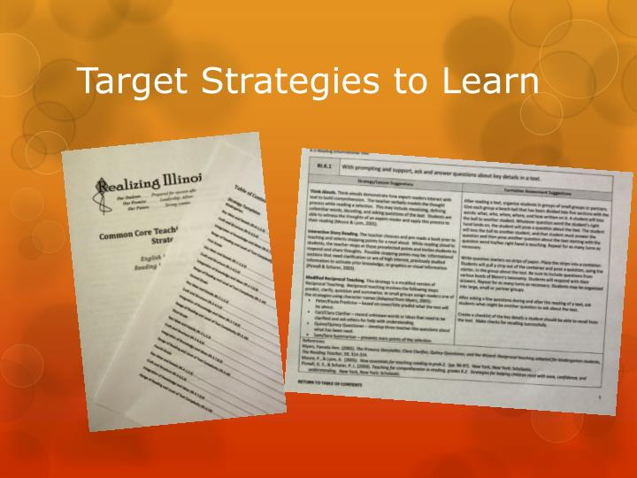 Target Strategies to Learn