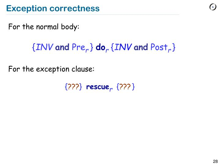 Exception correctness