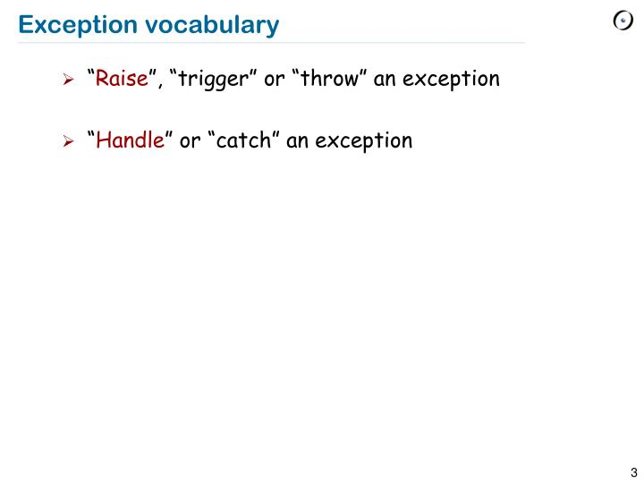 Exception vocabulary