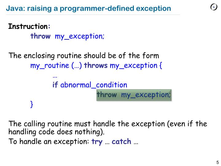 Java: raising a programmer-defined exception
