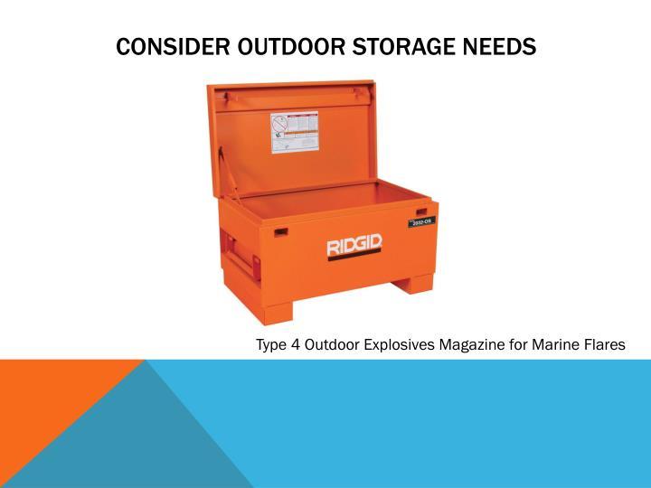 Consider outdoor storage needs