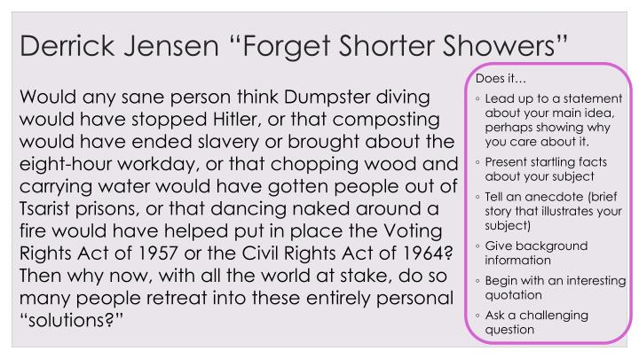 "Derrick Jensen ""Forget Shorter Showers"""