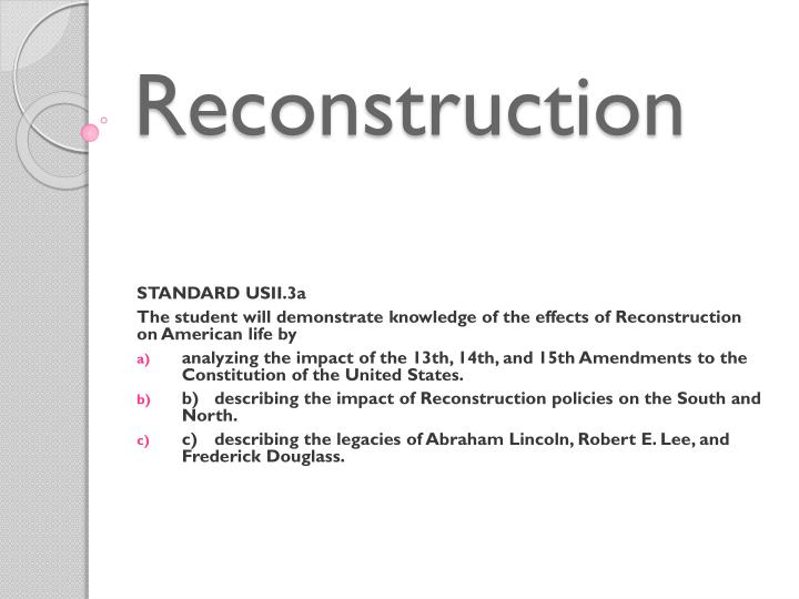 analysis of the reconstruction period