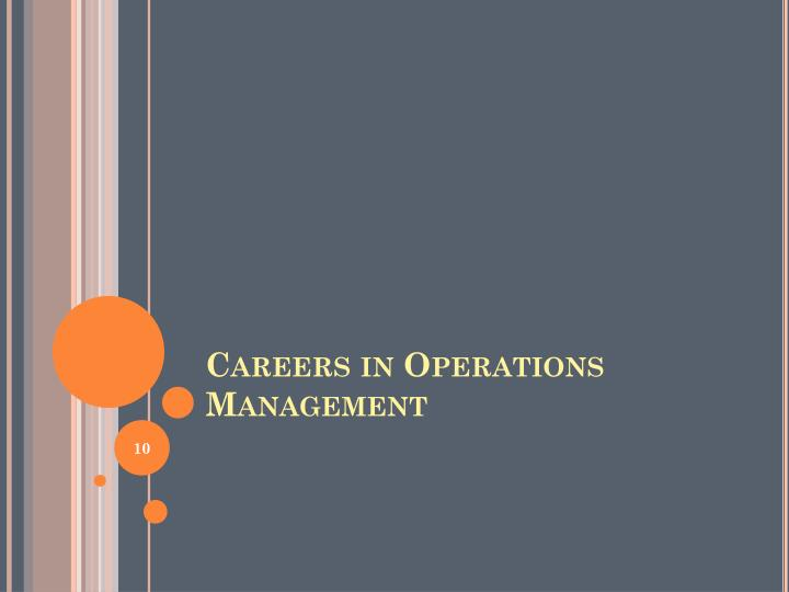 Careers in Operations Management