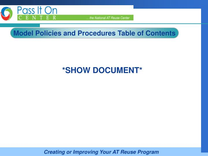 Model Policies and Procedures Table of Contents