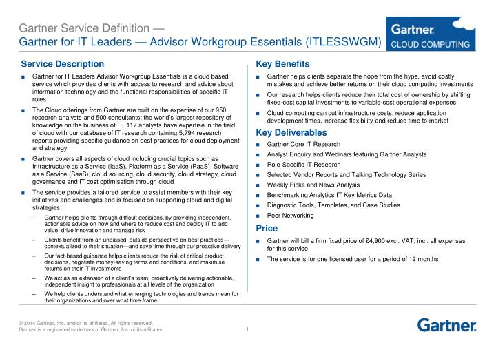 Gartner service definition gartner for it leaders advisor workgroup essentials itlesswgm