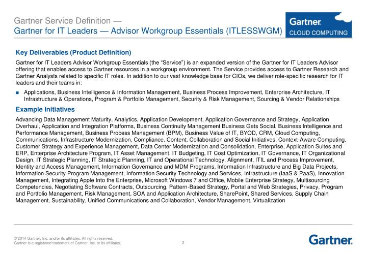 Gartner service definition gartner for it leaders advisor workgroup essentials itlesswgm1