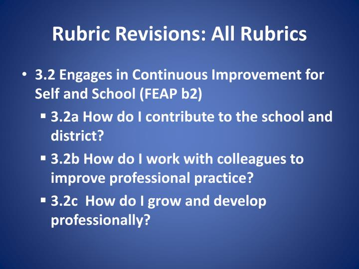 Rubric Revisions: All Rubrics