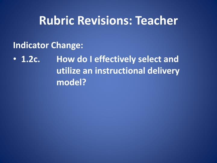 Rubric Revisions: Teacher