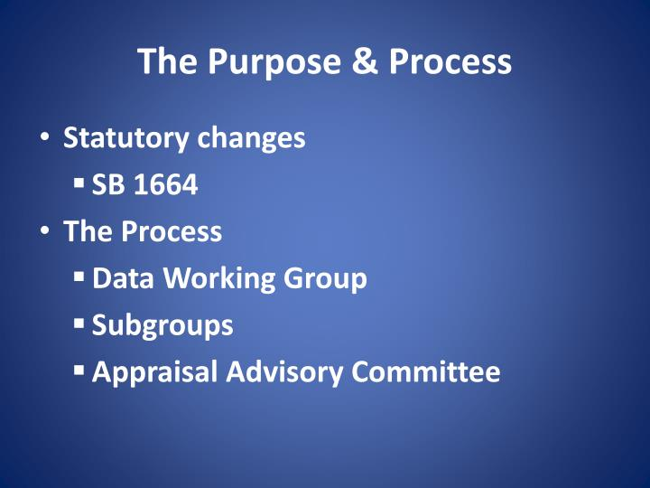The purpose process