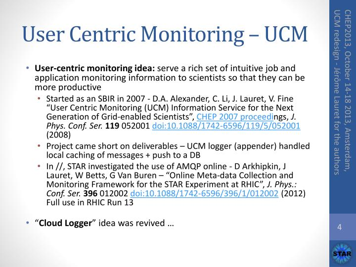 User Centric Monitoring – UCM