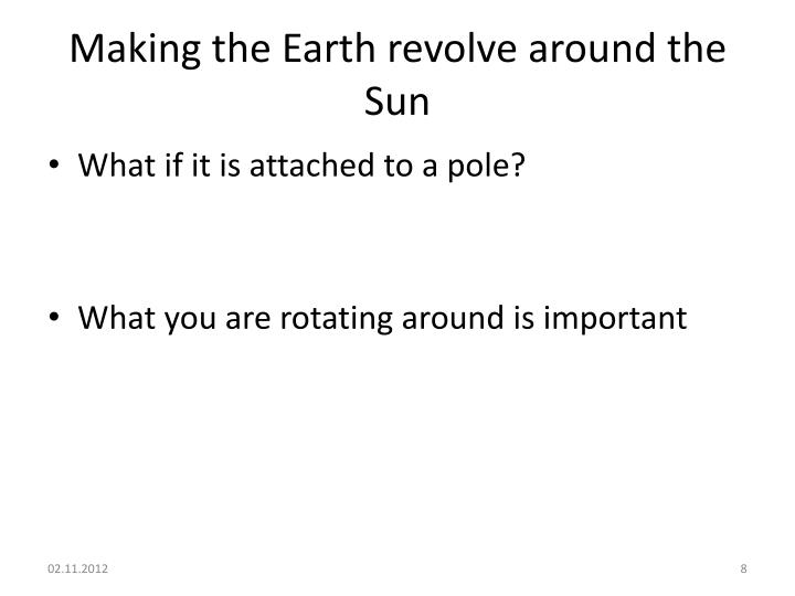 Making the Earth revolve around the Sun