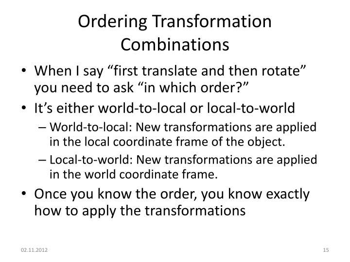 Ordering Transformation Combinations