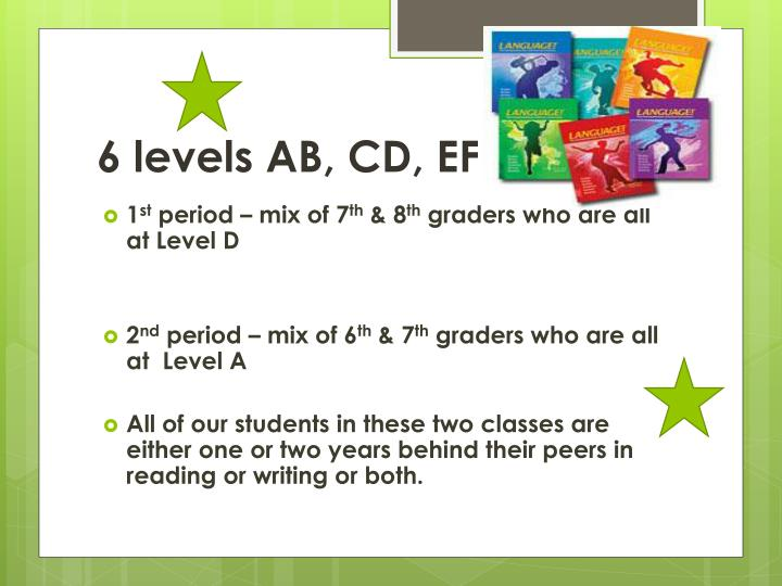 6 levels AB, CD, EF