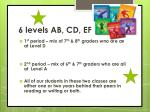 6 levels ab cd ef