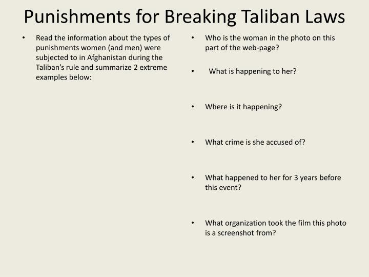 Punishments for Breaking Taliban Laws