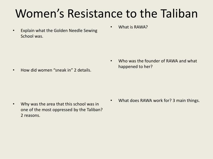 Women's Resistance to the Taliban