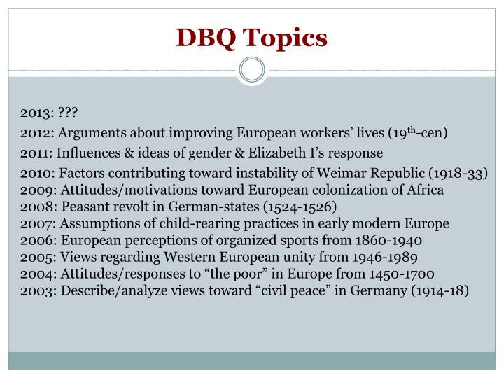 DBQ Topics